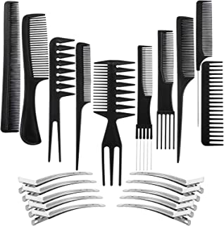 10 Pack Hair Stylists Styling Comb Set with 10 Pack Duck Bill Clips Salon Barber Anti-static Hair Combs Styling Comb set Hair Styling Comb with Silver Metal Clip