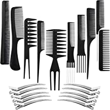 10 Pack Hair Stylists Styling Comb Set with 10 Pack Duck Bill Clips Salon Barber Anti-static Hair Combs Styling Comb Set H...