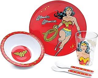 Bumkins DC Comics Wonder Woman Kids Dish Set, Plate, Bowl, Cup, Fork and Spoon, Melamine Toddler Dishes, BPA Free, Stackable, Dishwasher Safe - 5-Piece Set