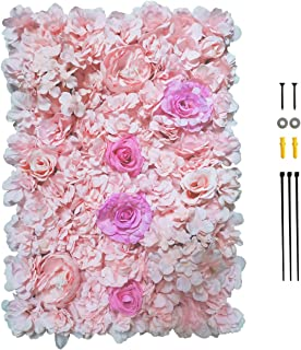 """GKanMore Artificial Flowers Wall Decoration 24"""" x 16"""" Decorative Silk Flower Panels Flower Wall for Home Party Wedding Pho..."""