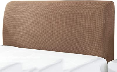 Bed Head Board Cover All-Inclusive Bed Head Back Protector Elastic Headboard Dust Slipcover for Home Bedroom Hotel Decor (Color : Khaki, Size : 220cm)