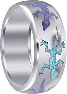 Mens 925 Sterling Silver Lizard Blue Turquoise and Lapis Inlay Band Ring