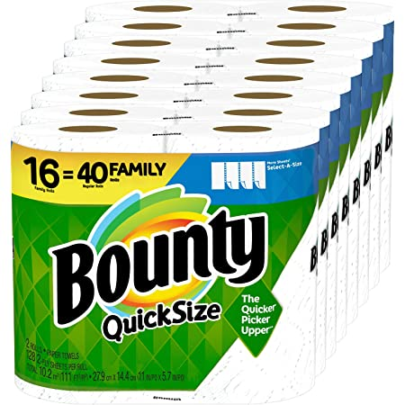 Bounty Quick-Size Paper Towels, 16 Family Rolls = 40 Regular Rolls