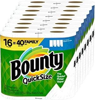 Bounty Quick-Size Paper Towels, 16 Family Rolls = 40 Regular Rolls