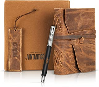 Genuine Handmade Leather Journal Gift Set – Buffalo Leather Bound Notebook with Unlined Pages – Rustic Travel Sketchbook with Pen and Bookmark for Men and Women – Vintage Bound Diary by Vintantico