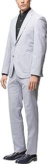 Hugo Boss Men's 'Janon/Lenon' Light Blue Regular Fit Stretch Seersucker Suit, 44R