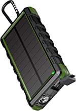 EasyAcc 24000mAh Solar Power Supply Energy Storage Battery Power Bank Rugged Waterproof Portable Rechargeable Charger with 6A Dual Input and QC Output - Black and Green
