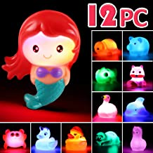 Bath Toy, 12 Pack Light up Animal, Floating Rubber Auto Flashing Color Tub Toys for Bathtub Bathroom Shower Game Swimming Pool Party, Water Toy for Infant Kid Toddler Child Boy Girl