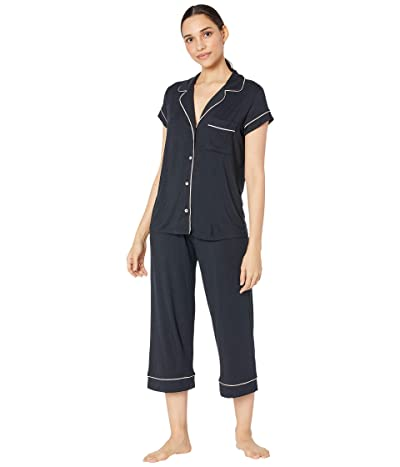 Eberjey Gisele The Cropped Pajama Set (Black/Sorbet Pink) Women