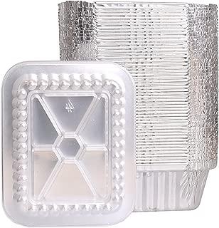 Party Bargains Oblong Aluminum Foil Pan | 1 Lb. Capacity Container Pans with Plastic Lids Set | 5.5 x 4.5 Inch Cooking Accessory | 50 Pack