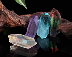 JIC Gem 4 pcs Auqa Aura, Angel Aura, Angel Amethyst, Tourmaline Healing Crystal Single Point Wand Natural Gemstone Polished Tumbled Stone or Crystal Healing, Reiki, and Home Decor