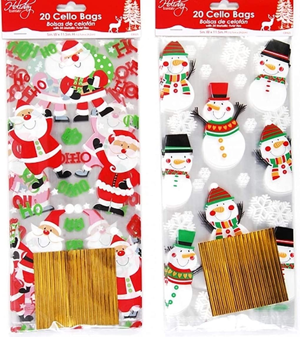40 pc Santa and Snowman Cellophane Christmas Goody Bags - with Twist Ties Included