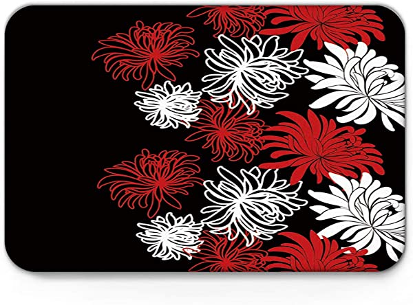 Homey Room Non Slip Doormats Welcome Mats Mud Dirt Trapper Entrance Mats Rug Shoes Scraper For Floor Indoor Kitchen Bedroom Red And White Daisy Flowers 15 7 X 23 6