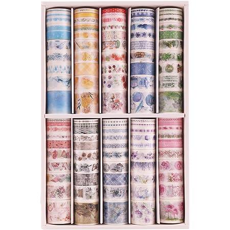 Lychii 100 PCS Washi Tape, Tape Decorativo Coprente per lavoretti di Fai da Te, diari, Biglietti, Schizzi (100 Rolls A)