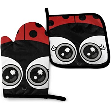 NA Cute Ladybug Oven Mitts and Pot Holders Set, Advanced Heat Resistant Oven Gloves and Kitchen Pot Holders, Kitchen Mittens for BBQ