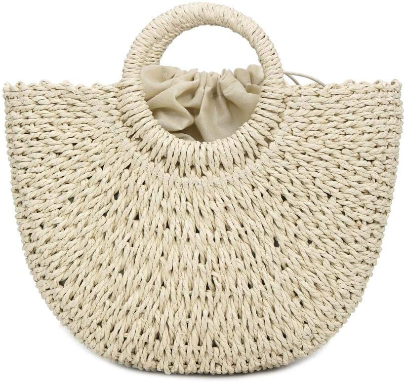 Summer Beach Straw Bag Weave Handwoven Tote Bag Retro Rattan Top Handle Clutch Bags with Round Handle Ring (White)