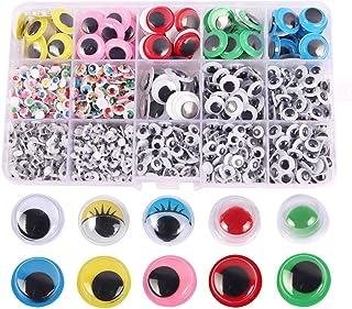 Yeux à coller, Yeux en Plastique Autocollant, 1500 Pièces Yeux Mobiles Autocollants pour Adhésifs Creativ DIY Craft Scrapb...
