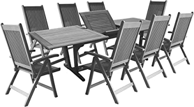 Vifah Renaissance Outdoor Patio Hand-Scraped Wood 9-Piece Dining Set with Extension Table
