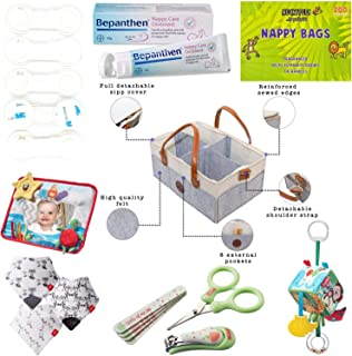 Hananee Newborn Essential Basket Caddy Organiser Diaper Leather, Safety Locks, Nail Care, Bibs, Tummy Time Mirror, Activit...