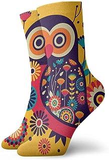 Hombres Mujeres Calcetines deportivos deportivos Flores de búho Divertidos calcetines de poliéster 30 cm