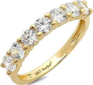 Clara Pucci 1.1 CT Round Cut Designer Pave Bridal Engagement Wedding Ring Band 14K Yellow Gold