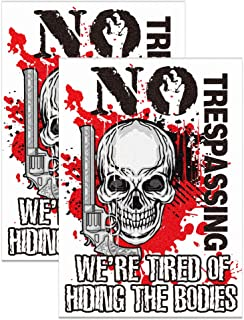 """WaaHome Pack of 2 Scary Halloween Skeleton Decorations Window Decal Sticker 7""""x10"""" No Trespassing We're Tired of Hiding Th..."""