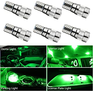 HOCOLO T10 198 194 168 912 921 W5W 2825 White Amber/Yellow Blue Green Red Ice Blue Color For Interior Dome/Map/License Plate/Parking/Door/Trunk Lights (6pcs T10 6-SMD Canbus Error Free, Green)