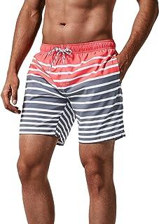 MaaMgic heren zwemshort FAST DRYING boardshort trainingsbroek met mesh voering en verstelbaar trekkoord, Roze grijs, L