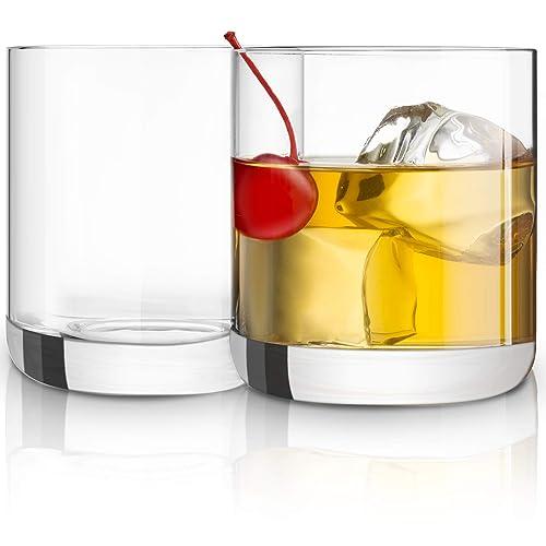 JoyJolt Nova Crystal Old Fashioned Whiskey Glasses, Excellent For Cocktail Bourbon Rocks Tumbler Glass 10 Ounce Bar Glassware Set of 2