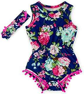 Toptim Newborn Toddler Baby Girl Floral Sleeveless Bodysuit Romper Jumpsuit Outfit Set Casual Clothes with Headband