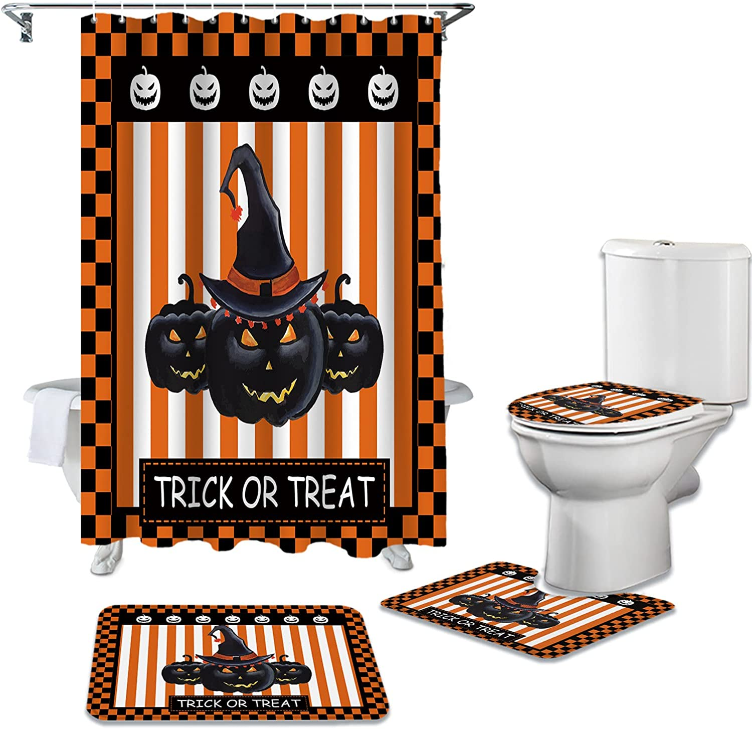 Shower Curtain Dealing full price reduction Sets 4 Pieces Scary with Max 44% OFF Rugs Non-Slip Halloween
