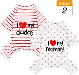 2-Pack Cotton Dog Pajamas Lightweight Dog Onesies for Small Medium Dogs and Cats Puppy Body Suits Cute Baby Dog Jumpsuit I Love My Mommy/Daddy Printed Pet Clothes, Grey Stars/Red Stripes