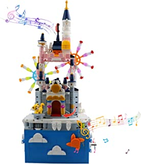 Cute Castle Music Box Building Blocks Toy 893 PCS Rotatable DIY Music Box for Kids 6 Years Old up and Adult