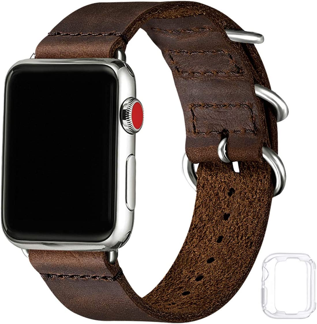 Vintage Leather Bands Compatible with Apple Watch Band 38mm 40mm 42mm 44mm,Genuine Leather Retro Strap Compatible for Men Women iWatch SE Series 6/5/4/3/2/1(Coffee+Silver Connector, 42mm 44mm)
