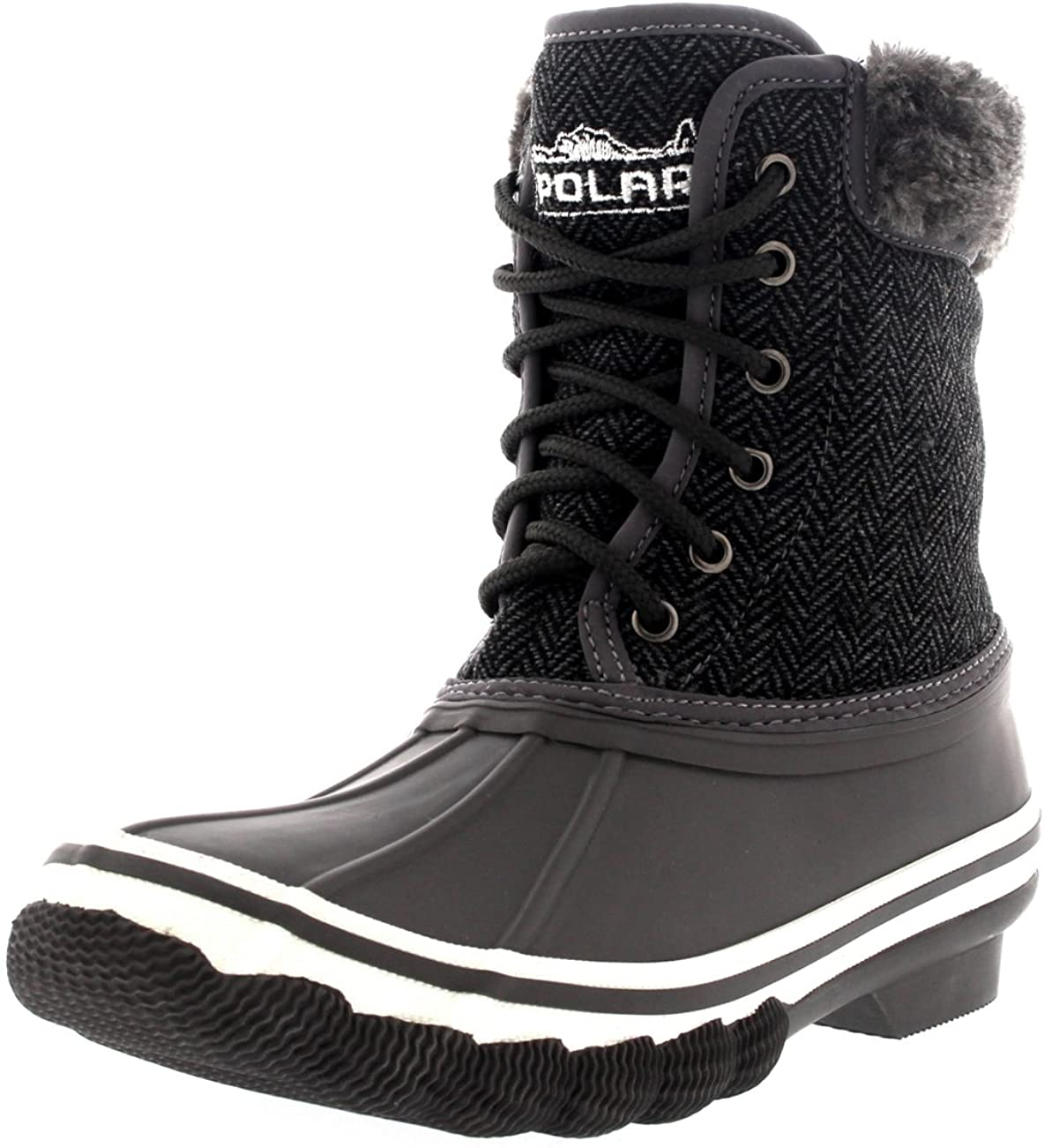 Womens Rubber Sole Deep Tread Winter Textile Snow Rain Boots