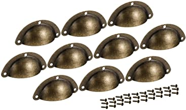 VHLL 40mm Hole Centers Vintage Style Cup Shell Drawer Pull Handle Bronze Tone 10pcs HIGHT QUALITY