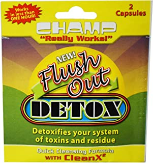 5 Pack - Champ Flush OUT Detox Cleanser 2 Count Capsules with Free I'm Baked Bro & Doob Tubes Sticker