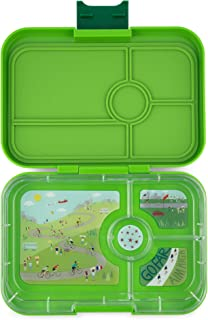 YUMBOX TAPAS Larger Size (Go Green) 4 Compartment Leakproof Bento Lunch Box for Kids, Teens and Adults