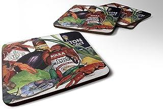 "Caroline's Treasures 8131FC Louisiana Spices Foam Coasters (Set of 4), 3.5"" H x 3.5"" W, Multicolor"