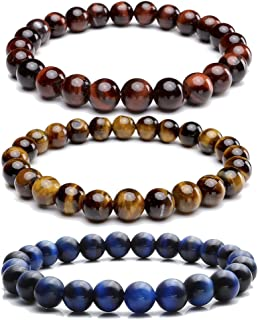 8MM Natural Gemstone Healing Power Round Elastic Stretch Bracelet Variation Colors Material