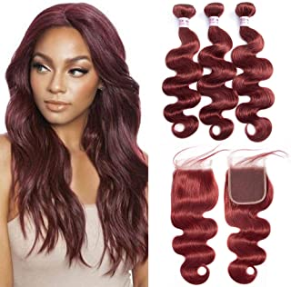 Christmas Day Aigemei Peruvian Burgundy Red Color Body Wave Human Hair 3 Bundles with 4x4 Free Part Lace Closure Body Wave Hair Extensions(20 20 22+18 Closure,Color 33)