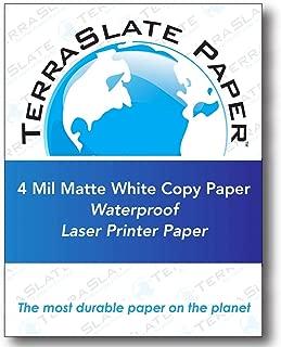 TerraSlate Copy Paper Waterproof Laser Printer, Rain Weatherproof, 4 MIL, 8.5x11-inch, 50 Sheets