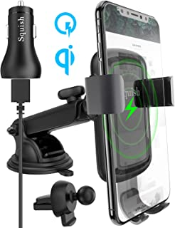 Squish Qi Wireless Car Charger, 10W 7.5W Fast Charging Car Charger Mount with QC 3.0 Car Charger, Car Phone Holder Car Phone Mount for iPhone XS MAX/XR/XS/X/8/8 Plus Samsung S10 S9 S8 S7 Note 10/9/8/7