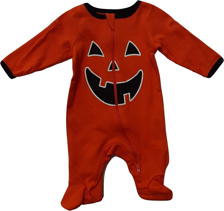 Halloween Baby Boys Sleep and Play Sleeper Crawler (Orange Pumpkin, 3-6 Months)