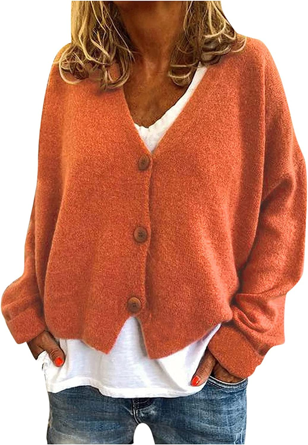 Womens Knitted Cardigan Button Up Long Sleeve Plus Size Lightweight Coat Soft Sweater Jacket Fall Fashion Thin Outwear