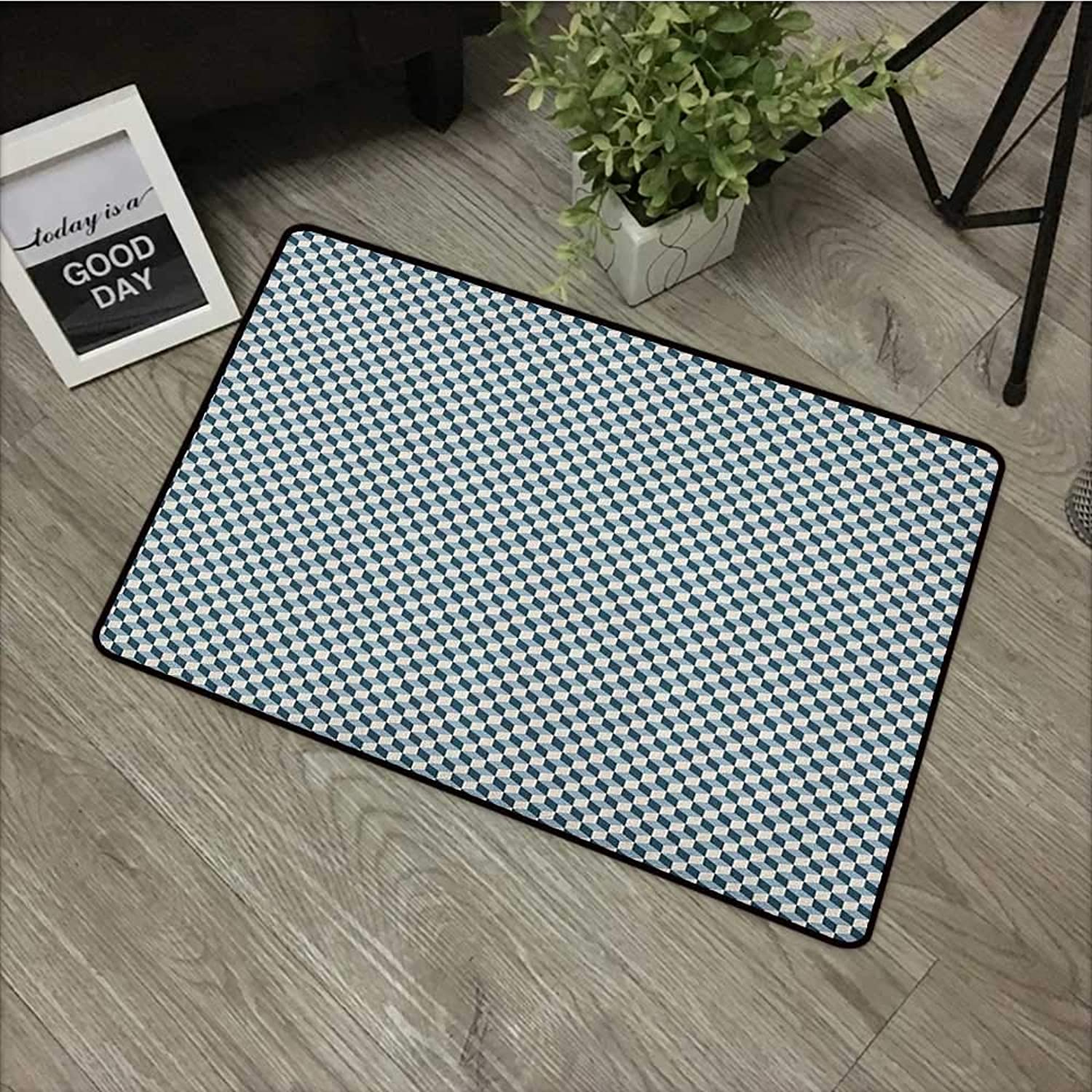 Door mat W35 x L59 INCH Geometric,3D Effect with Stacked Cubes Pattern Grid Style Squares Arrangement, Pale bluee Dark bluee with Non-Slip Backing Door Mat Carpet