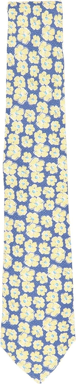 Kiton Men's Silk and Linen Basket Weave Floral Print Necktie