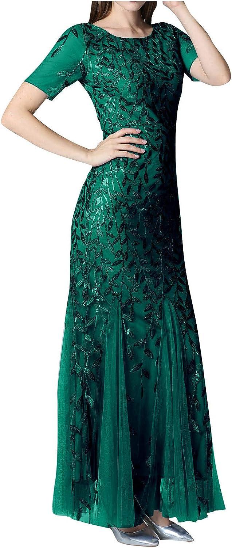 POIYT Women Beaded Mesh Gauze Fishtail Short Sleeve O-Neck Slim Evening Dress