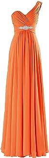 TalinaDress Womens Long One Shoulder Sweetheart Chiffon Bridesmaid Dresses Prom Gowns E198LF