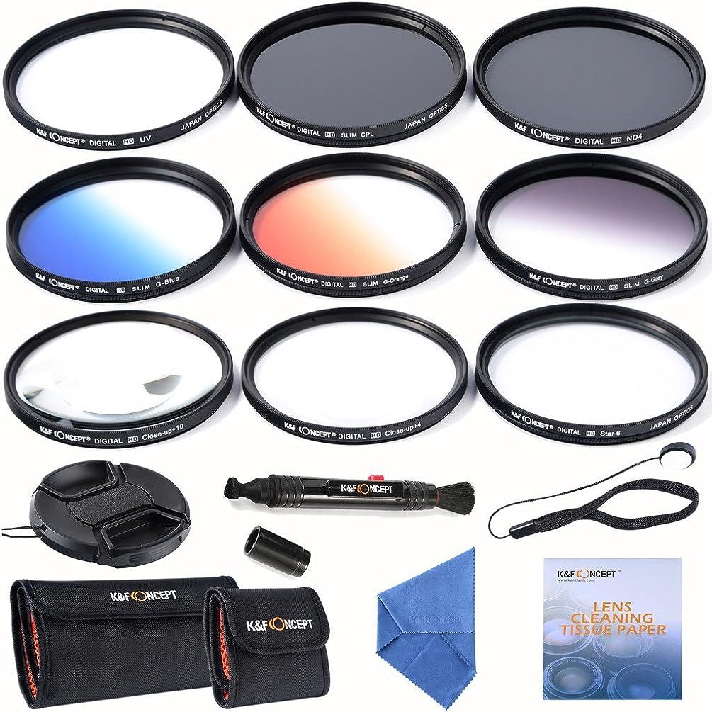 K&F Concept 58mm Lens Filter Kit Slim ND 4 Filter UV Slim CPL Circular Polarizing Macro Close up +4 +10 Slim Graduated Color Orange Blue Grey Point Star 6 Filters